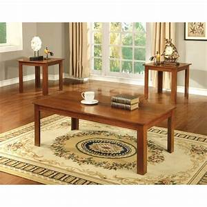 furniture of america tedford 3 piece coffee table set in With light oak coffee table sets