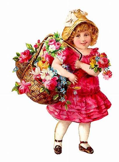 Victorian Flower Basket Child Clip Spring Transparent