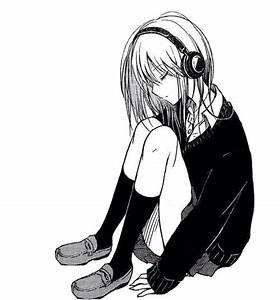 anime, girl, listening, manga, music - image #2770569 by ...