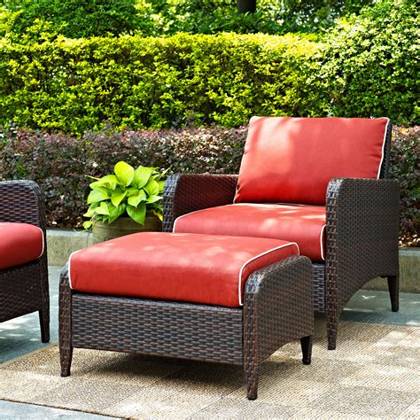 crosley kiawah outdoor wicker club chair with ottoman