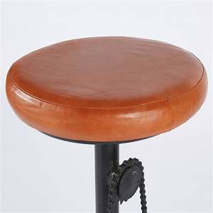 Sgabello Da Bar Stile Industriale In Pelle Color Cognac E