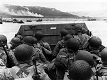 Troops in an LCVP landing craft approaching Omaha Beach on ...