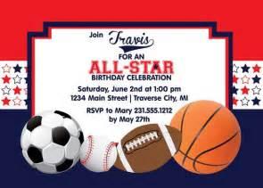 <b>Sports</b> <b>Birthday</b> InvitationSports