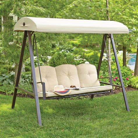 canapé swing hton bay cunningham 3 person metal outdoor swing with