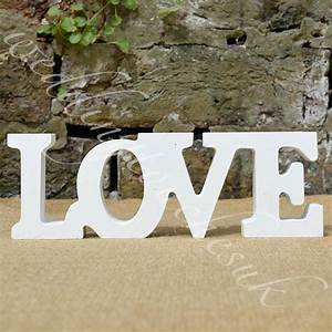 New wooden free standing love letters love words home for Wedding letters decoration