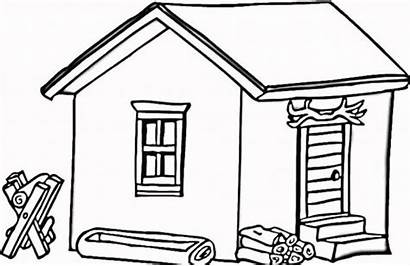 Cabin Coloring Log Clipart