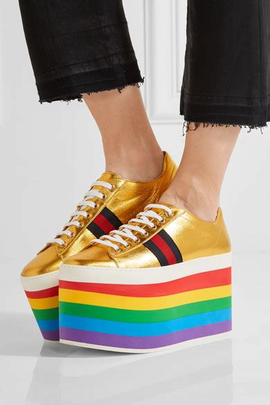 GUCCI Peggy Metallic Leather Rainbow Platform Sneakers in Gold | ModeSens