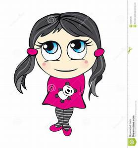 Cute Cartoon Girl Illustration Stock Vector - Illustration ...