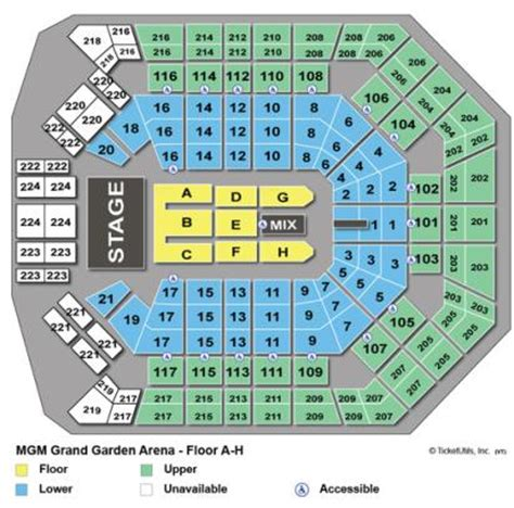 mgm grand garden arena seating vipseats mgm grand garden arena tickets