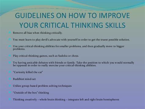 How To Write Critical Thinking Skills In Resume by How To Improve One S Critical Thinking