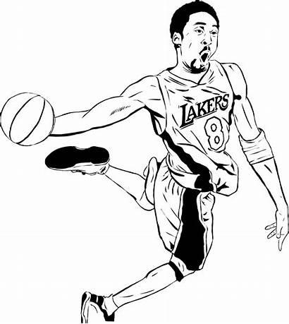 Kobe Bryant Drawing Clipart Coloring Nba Clip