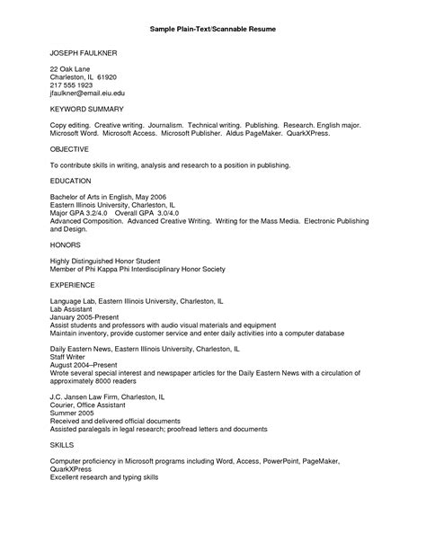 plain text resume exle info