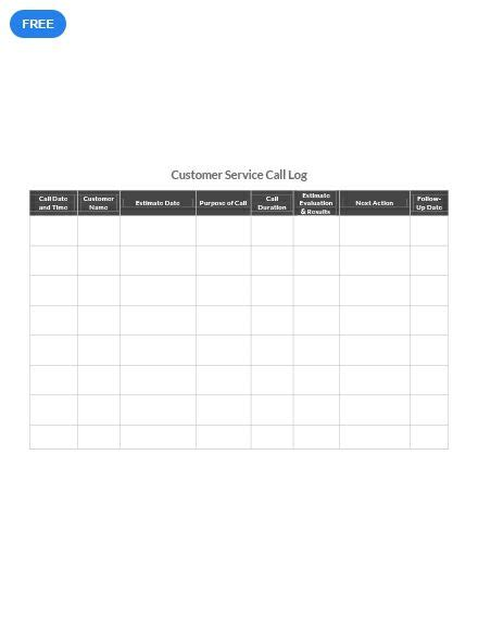 customer service call log reading logs table