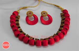 chandbali earrings online silk threaded necklace w bail chandbali esdi trendz