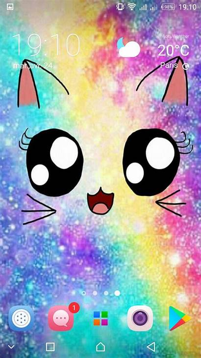 Kawaii Cat Cute Backgrounds Wallpapers Kitten Android