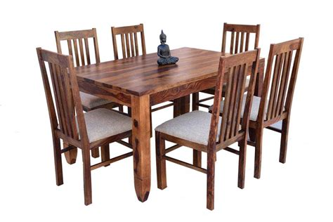 Buy 6-seater Pencil Dining Table With Upholstery Chair