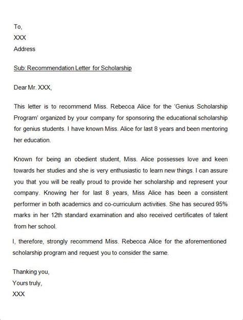 sample letter  recommendation  scholarship