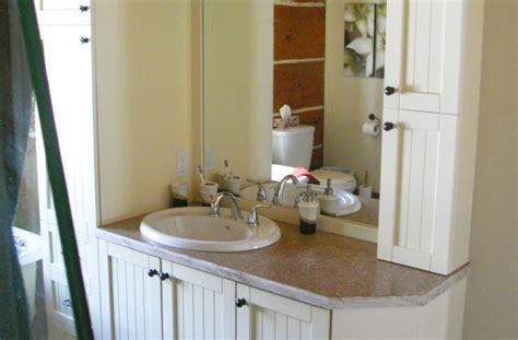 salle de bain en bois laqu 233 comptoir stratifi 233 avec bande de corian 201 b 233 nisterie s forcier