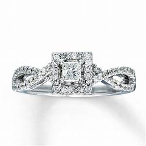 Kay diamond engagement ring 1 2 ct tw princess cut 14k for Kay jewelers wedding ring