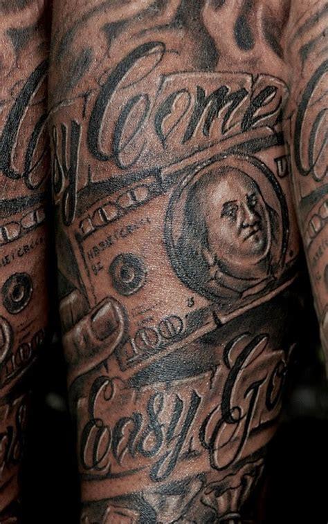 incredible black ink forearm tattoo  money bill