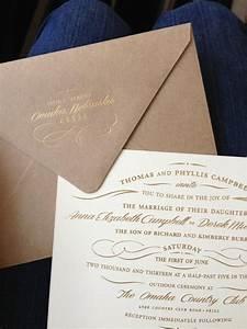 wedding invitations gold foil on kraft envelopes and With wedding invitations on cotton paper