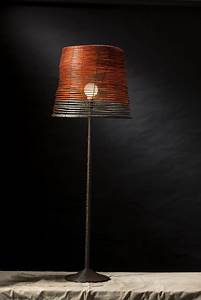 Home accessories cool rustic handmade floor lamp shade for Floor lamp with different color shades