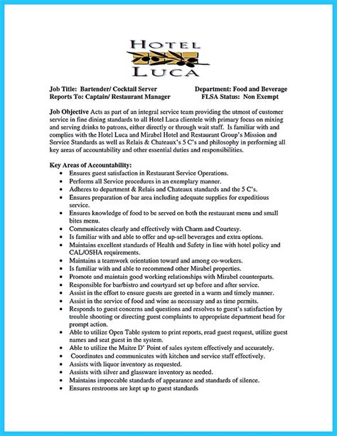 Another Name For Bartender On Resume by Impress The Recruiters With These Bartender Resume Skills