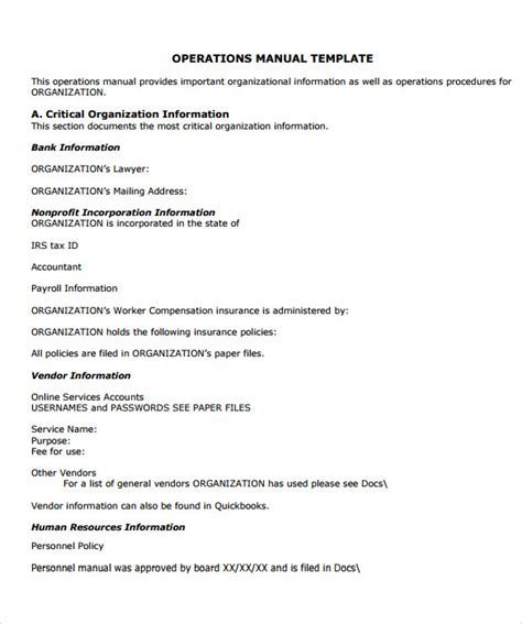 Department Manual Template by 9 Office Manual Sles Sle Templates