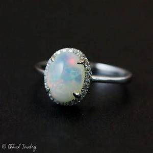 halo diamond australian opal ring silver opal ring With australian opal wedding rings