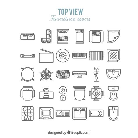 chambre vue de haut icônes de meubles en vue de dessus télécharger des