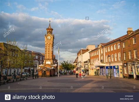 Clock tower in Epsom town centre, Surrey, England, UK