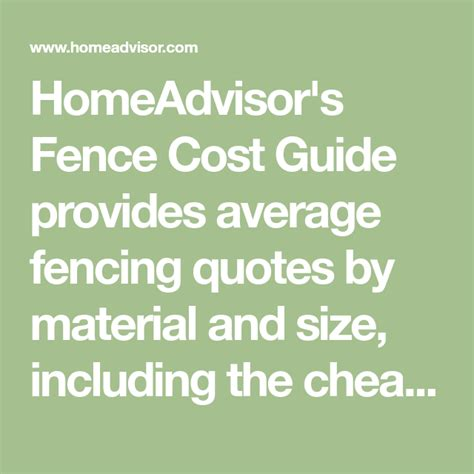 homeadvisors fence cost guide  average fencing