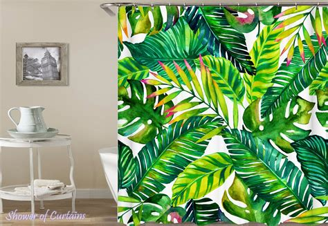 Tropical Shower Curtain Watercolor Palm Retro Print For Bathroom Curtains For Blue Grey Walls Brooklyn Bay Window Curtain Pole Set Making Double Pinch Pleat Fabric Shower With Matching Treatment Bed Bath And Beyond Extra Wide Hanging On A Vertical Blind Track Crochet Pattern