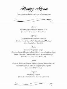 wine pairings tasting menu party menu With wine dinner menu template