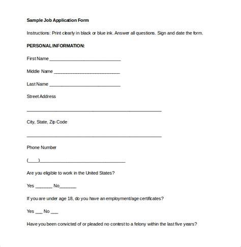employment application templates  sample