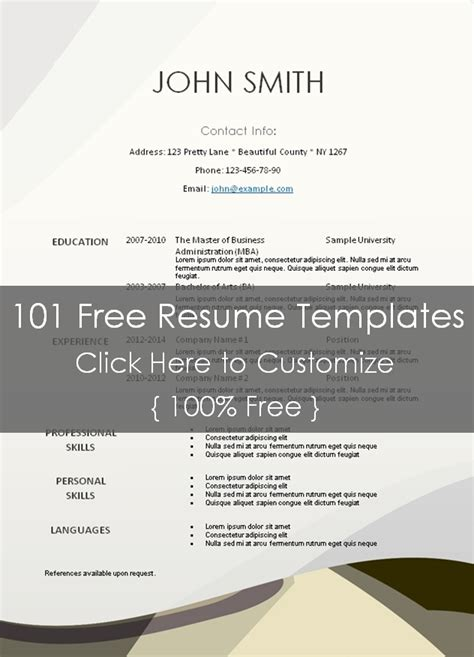 Resume Templates 101 by Free Printable Resume Templates