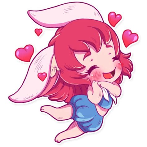 cute bunny girl sticker pack  telegram telegramguides