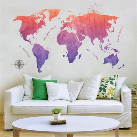 Providing you the best range of buddha wall decor, eagle wall decor, galloping horse wall decor, dance wall decor, mirror acrylic wall decor and laser cut tree wall decor with effective & timely delivery. Watercolor Rendering World Map 2D Wall Stickers Colored letters world map DIY Wall Stickers Kids ...
