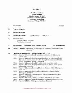 Minutes For Meeting Template Board Of Education Regular Meeting Agenda Free Download