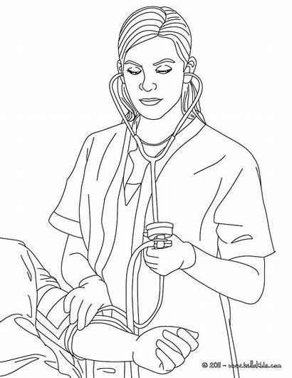 Nurse Coloring Blood Pressure Pages Drawing Job