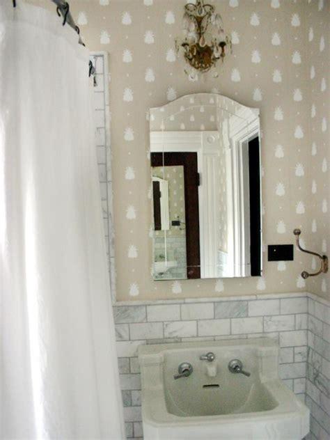 traditional bathroom  fun wallpaper hgtv