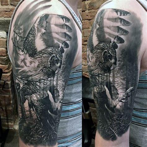owl sleeve tattoos  men nocturnal bird design ideas