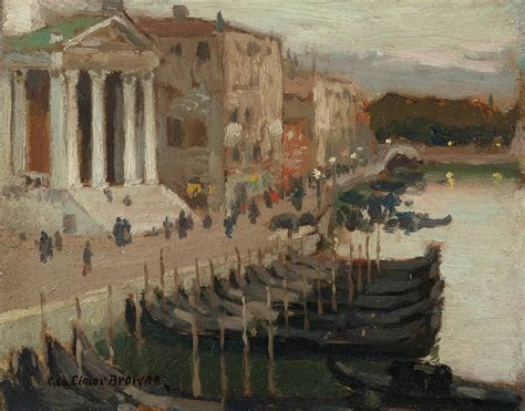 george elmer browne evening  venice painting  sale
