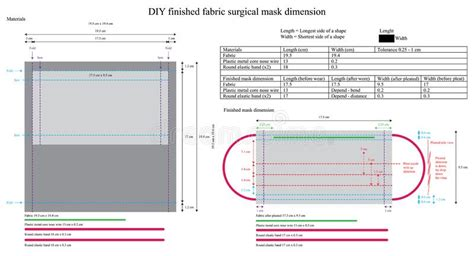 diy fabric surgical mask size template stock vector