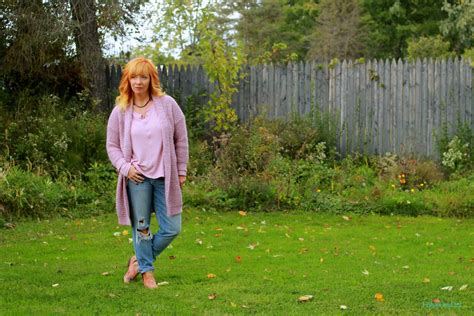 Pink Shawl Collar Cardigan & Floral Ankle Boots