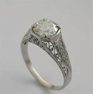 vintage engagement rings original feminine filigree vintage antique engagement ring tcw 1 26 cts