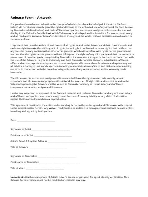 16310 artwork release form 2 artwork release form 2 free templates in pdf word