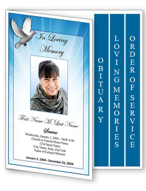 funeral program template  page graduated celestial dove