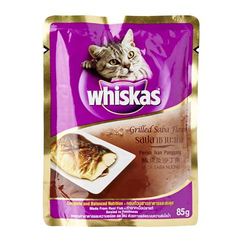 whiskas grilled saba pouch food for cat 85g from redmart