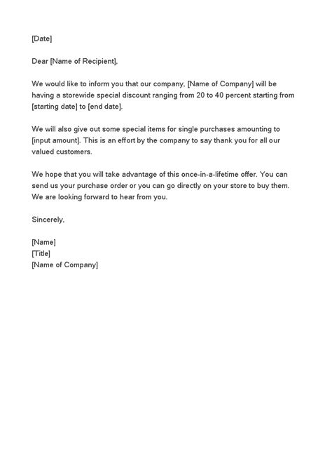 product discount offer letter templates